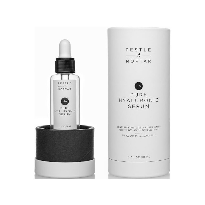 PURE HYALURONIC SERUM. PESTLE MORTAR.